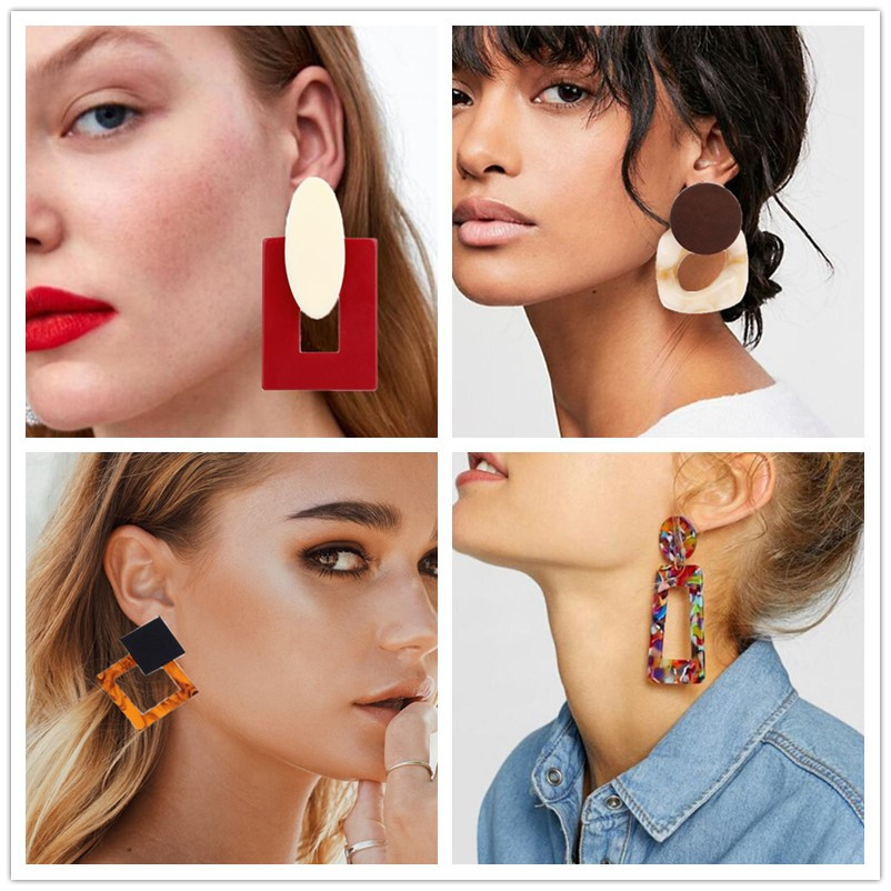 Acrylic Earrings 2019 Big Statement Earrings For Women Resin Oval Square Geometric Drop Dangle Earrings Bohemia  Jewelry Gift