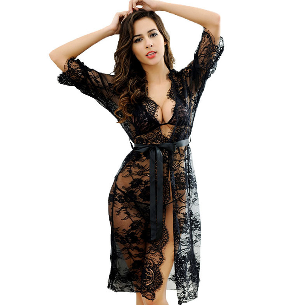 Women Sleepwear Robes Sexy Lace Lingerie Femme Nightgowns Long Robes Bathrobes Female Pajamas Black Underwear Womens Clothing