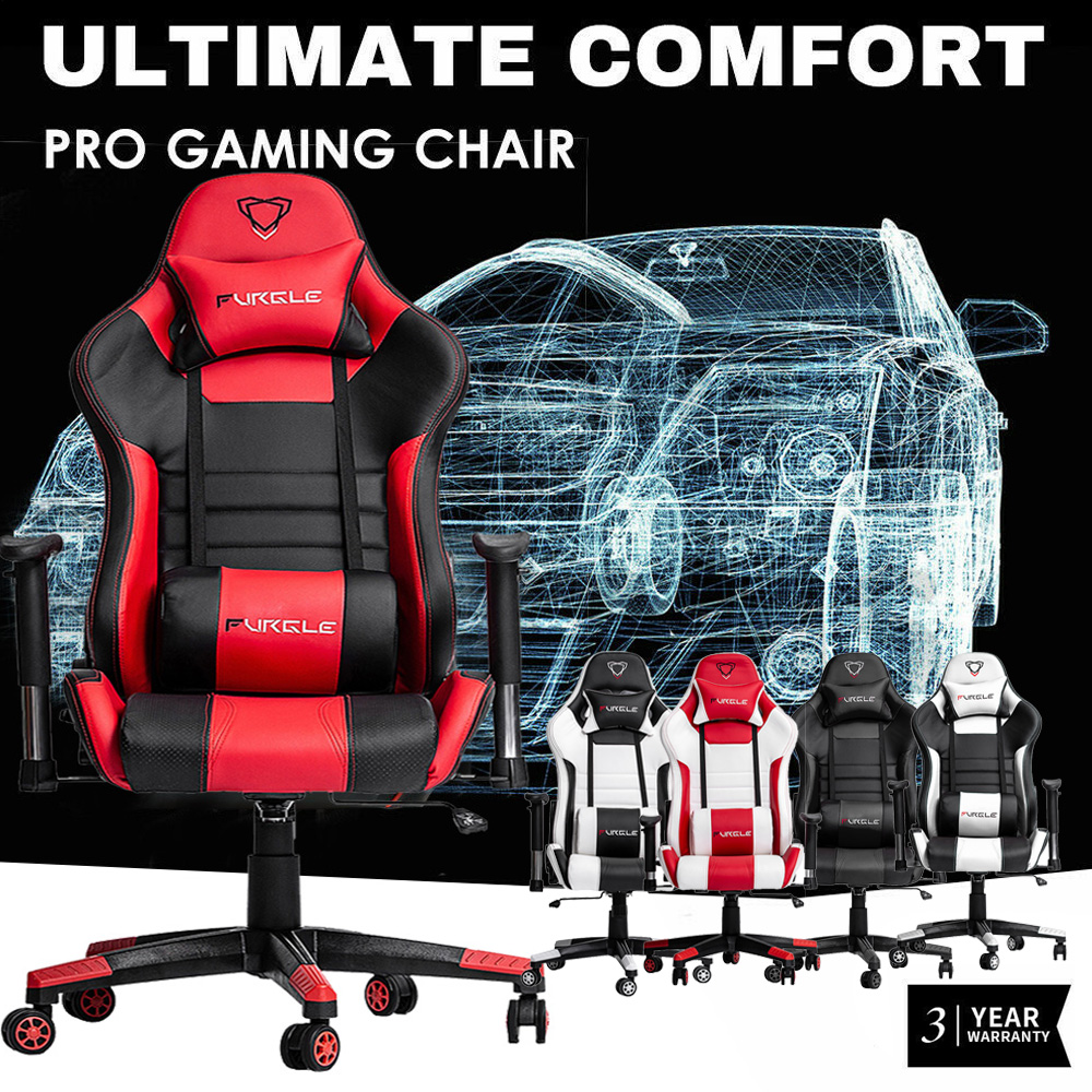 Furgle Wcg Game Computer Stoel Hoge Kwaliteit Verstelbare Bureaustoel Lederen Gaming Stoel Zwart Voor Home Office Game Concurrerende