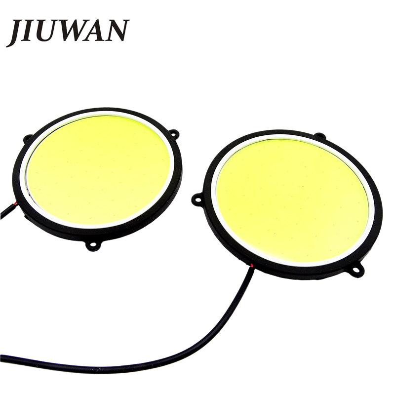 1 Pair Car DRL Daytime Running Lights  Round Shape White LED Car DRL Waterproof Light 12V DC 90mm Running Lamps