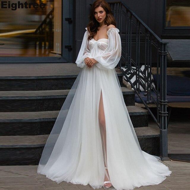 Eightree Side Split Boho Wedding Dresses with Detachable Puff Sleeves Beach A-Line Wedding Gowns Sweetheart Vestidos De Novia 1