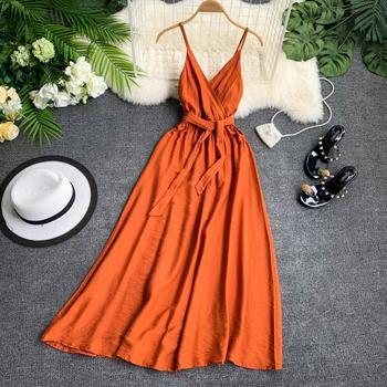 Fitaylor 2021 Women Dress Summer Sexy V Neck Sashes Dress Red White Black Sleeveless Spaghetti Strap Beach Dress Vestido 1