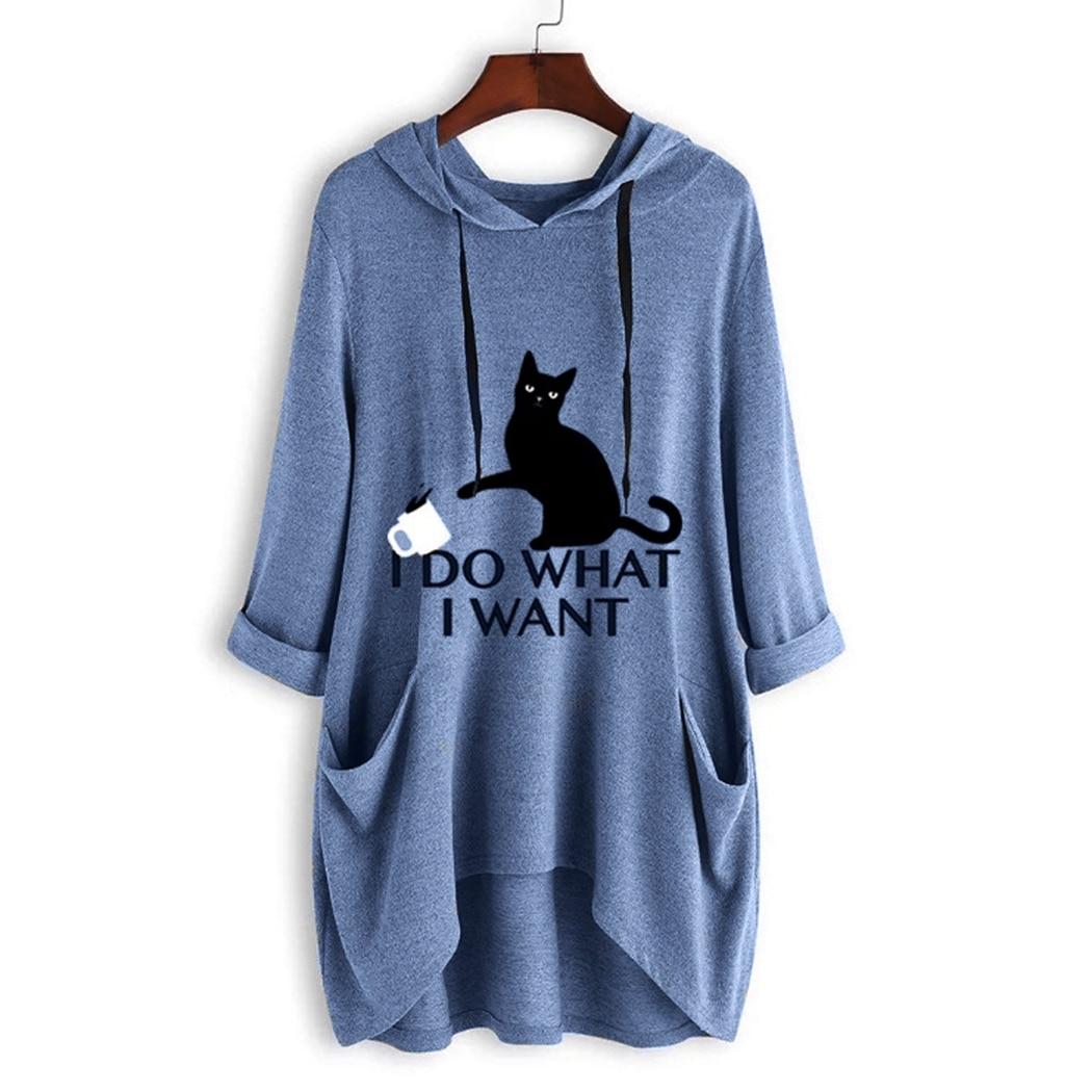 Leuke Kat Gedrukt Oversized Onregelmatige Hooded Jassen Vrouwen Streetwear Harajuku Lange Mouwen Midi Hoodies Vrouwelijke Sweatshirts Tops - 4