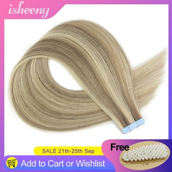 isheeny 14-22 Straight European Skin Weft 100% Human Hair Extensions P18/613# Double Sided Tape Remy Hair European Salon Style isheeny remy human hair tape extensions straight 12 22 skin weft seamless hair extension samples for salon hair testing