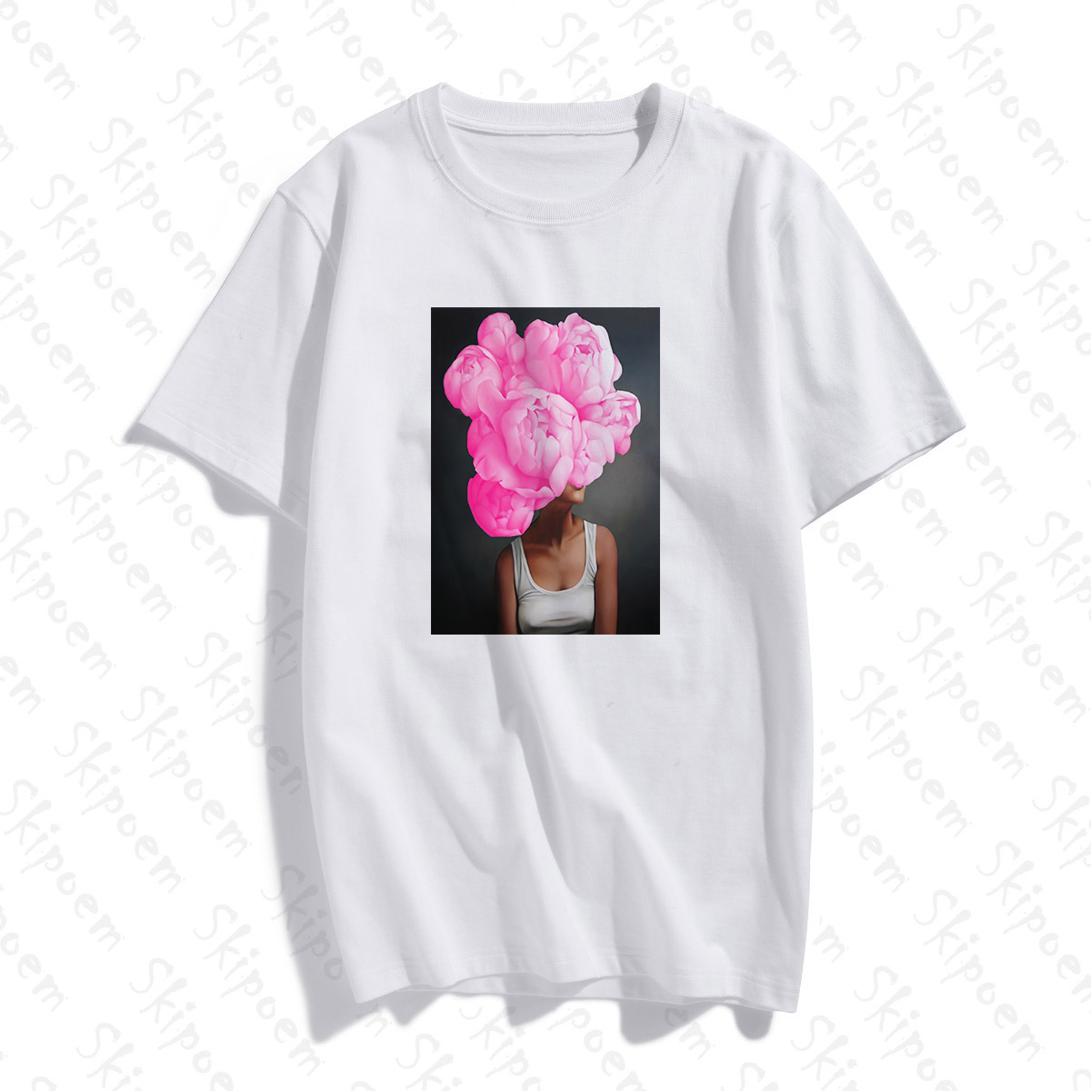 Photography Art Fashion Sexy Woman With Flower T-shirt Women Aesthetic Kawaii Cotton Short Sleeve Plus Size Top Tees Streetwear