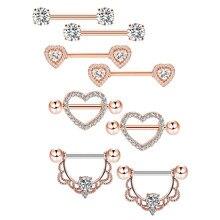 3 pares de flor nipple piercing bar 14g aço inoxidável cristal nipple piercing língua jóias sexy nipple shield pircing jewely