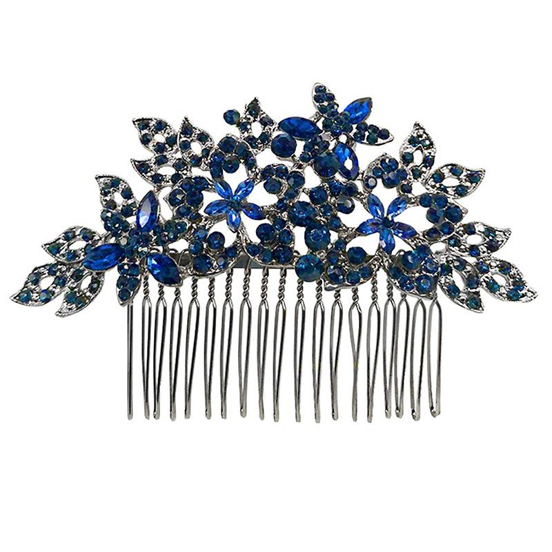 В винтажном стиле морского флота темно-синего цвета с украшением в виде кристаллов Свадебные головной убор стразы цветок свадебный гребень...