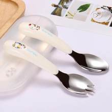 Children Spoon Forks Box Kids Stainless Steel Kids Cutlery Portable Baby Feeding Utensils Baby Spoons Baby Tableware Set(China)