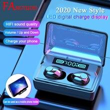 FANGTUOSI casque stéréo sans fil, casque bluetooth, sport, écouteurs sans fil avec support de charge 2020 mAh