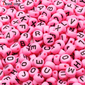Wholesale Pink Mixed Letter Acrylic Beads Round Flat Alphabet Spacer Beads For Jewelry Making Handmade Diy Bracelet Necklace
