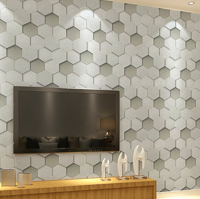 Faux Leather Pattern TV Backdrop Wallpaper Hotel Clothing Store 3D Geometry Hexagonal Wallpaper Wholesale