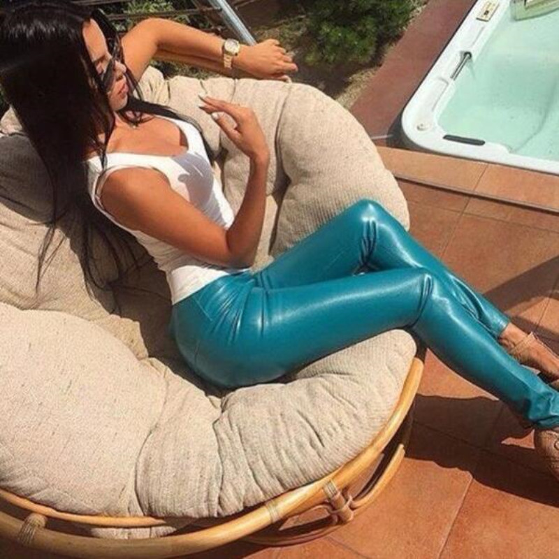 Leather Pants 2019 Real Skinny Faux Leather Fashion Pantalones Mujer Pants Spring New Women's Feet Plus Pu Leggings Solid Color