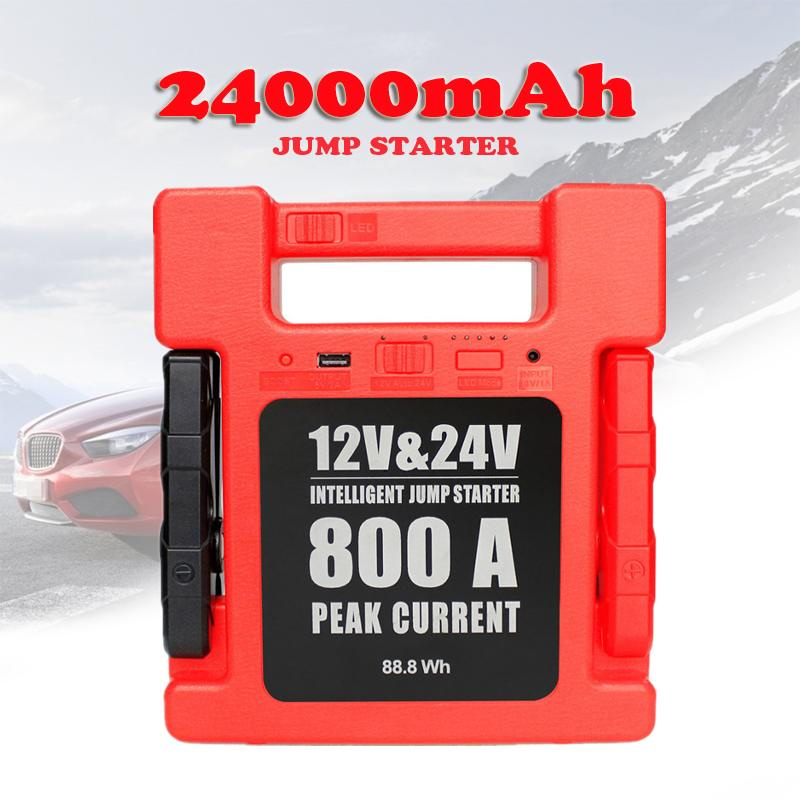 24000mA 12V 24V Car <font><b>Jump</b></font> <font><b>Starter</b></font> <font><b>800A</b></font> Portable Power Bank Charger Emergency <font><b>Jump</b></font> <font><b>Starter</b></font> Battery Booster For Car Truck Boat Bus image