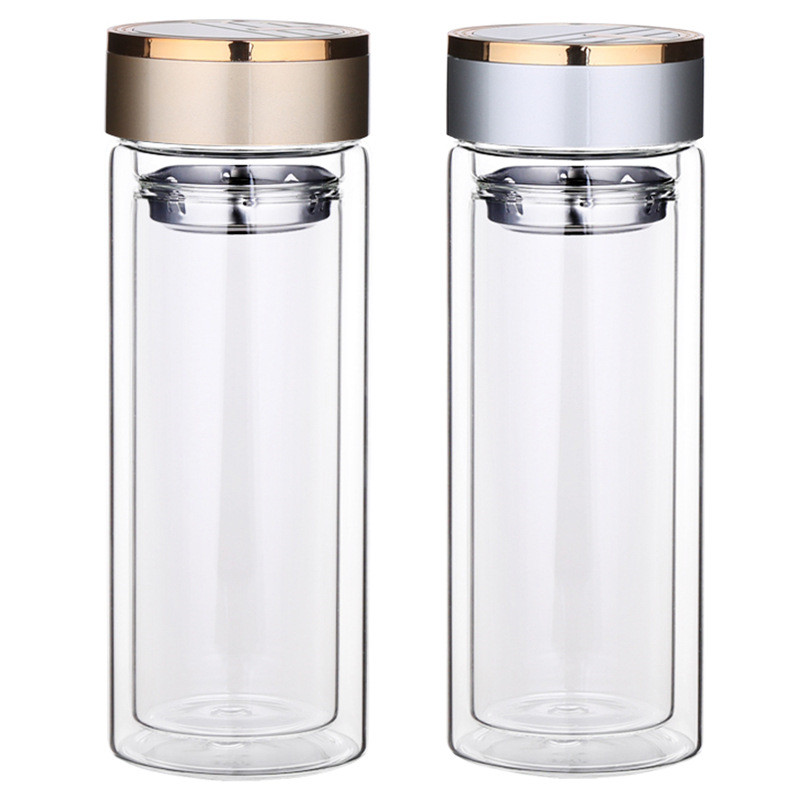 300ml Anti-scalding Business Cup Portable Office Double Wall Glass Tea Bottle with Stainless Steel Tea Filter Bottle