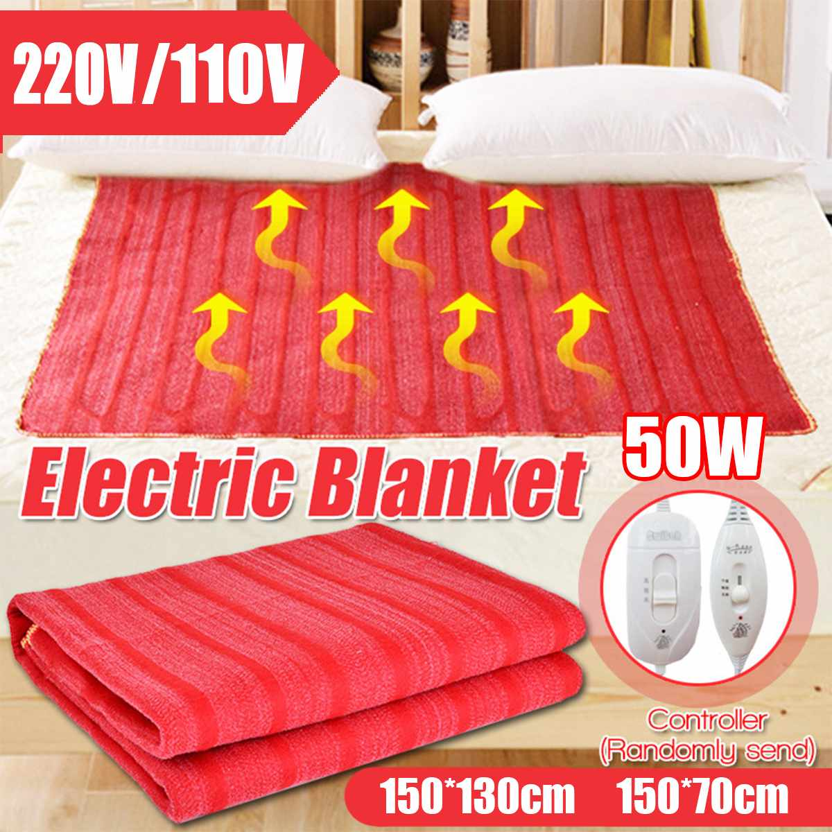 110V/220V Washable Electric Blanket Double Single Waterproof Temperature Adjustable Warm Heaters Bed USB Heating Pad Heated Mat