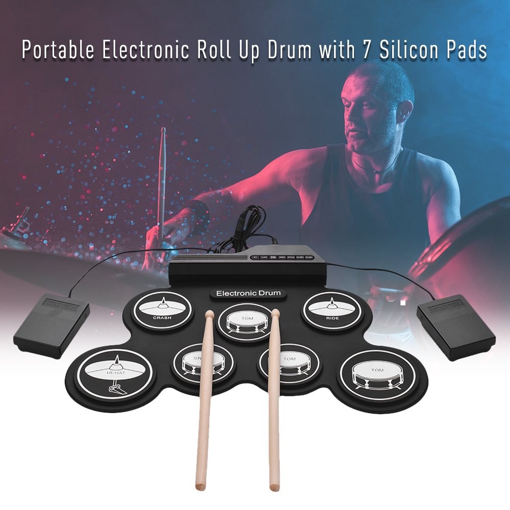 Compact Size USB Roll-Up Silicon Drum Set Digital Electronic Drum Kit 7 Drum Pads with Drumsticks Foot Pedals for Beginners-5