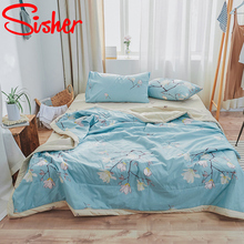 Blanket Comforter Quilt Summer Bedding Bed-Cover Air-Conditioning Washable Printed Thin