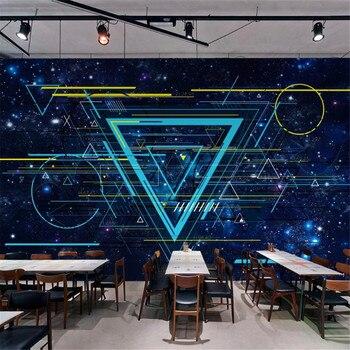 Milofi custom large wallpaper mural modern science fiction creative starry sky cosmic line bar KTV background wall цена 2017