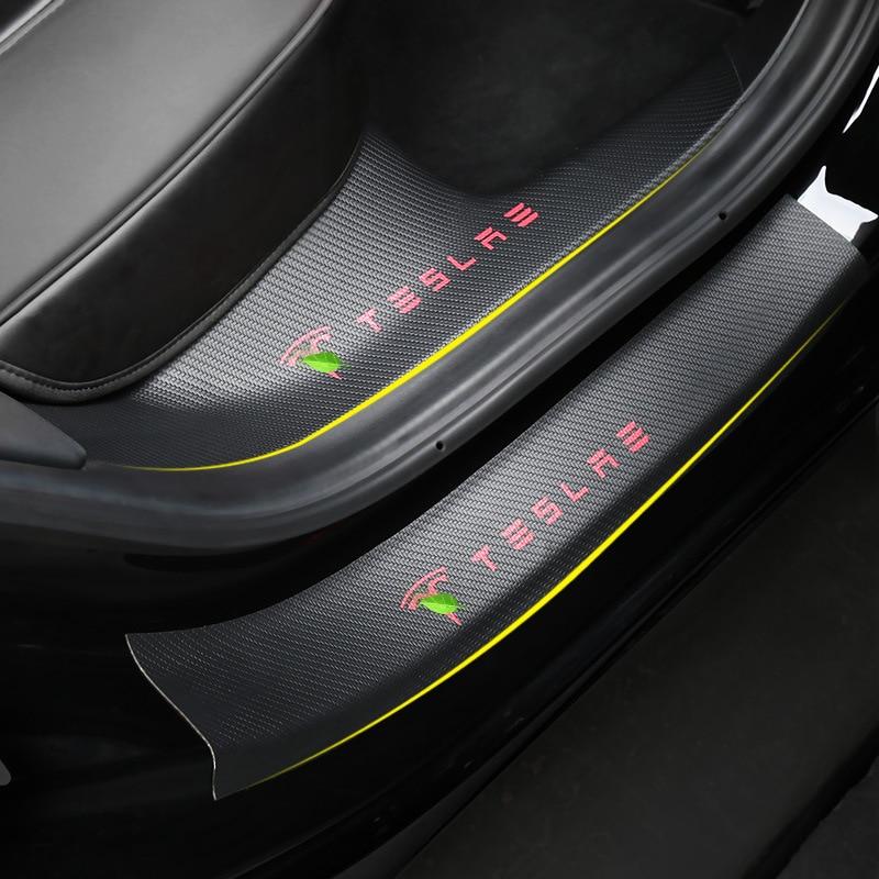 Carbon fiber  leather Car  Door Sill Strip Scuff Plate For Tesla Model 3 Auto Door Sill Protective Interior Sticker