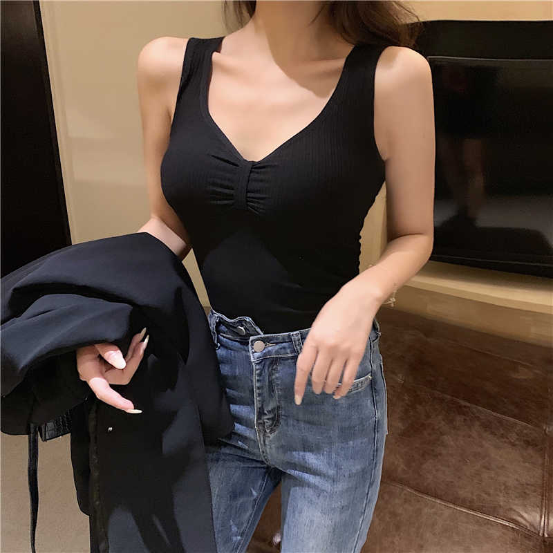 Automne hiver femmes gilet thermique brossé hauts sous-vêtements pour femmes col en v réservoir sexy mince camisole