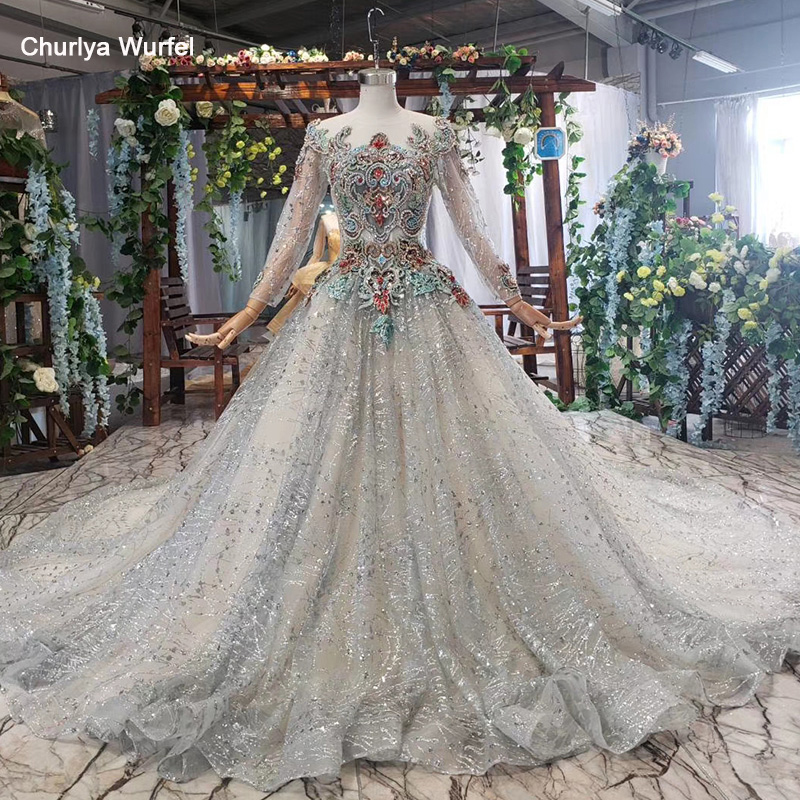 HTL574 Grey Evening Dresses With Train O-neck Lace Up Back Color Beads Long Sleeves Shiny Formal Prom Dress Robe Soiree Dubai