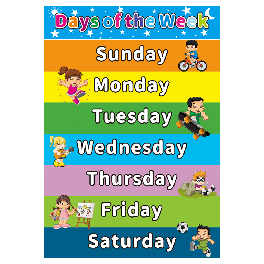 Day Of The Week Educational Canvas Painting Poster For Toddlers Kid Room Kindergarten Classrooms Decor Learning Charts Wall Art