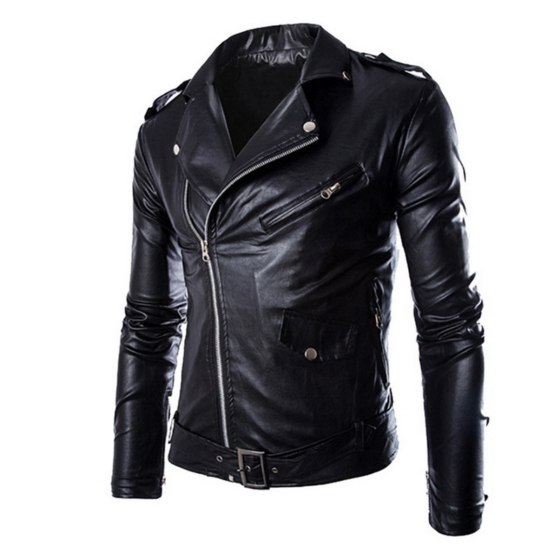 HEFLASHOR Coat Moto-Jackets Biker Zipper Faux-Leather Autumn Winter Fashion Lapel Men title=