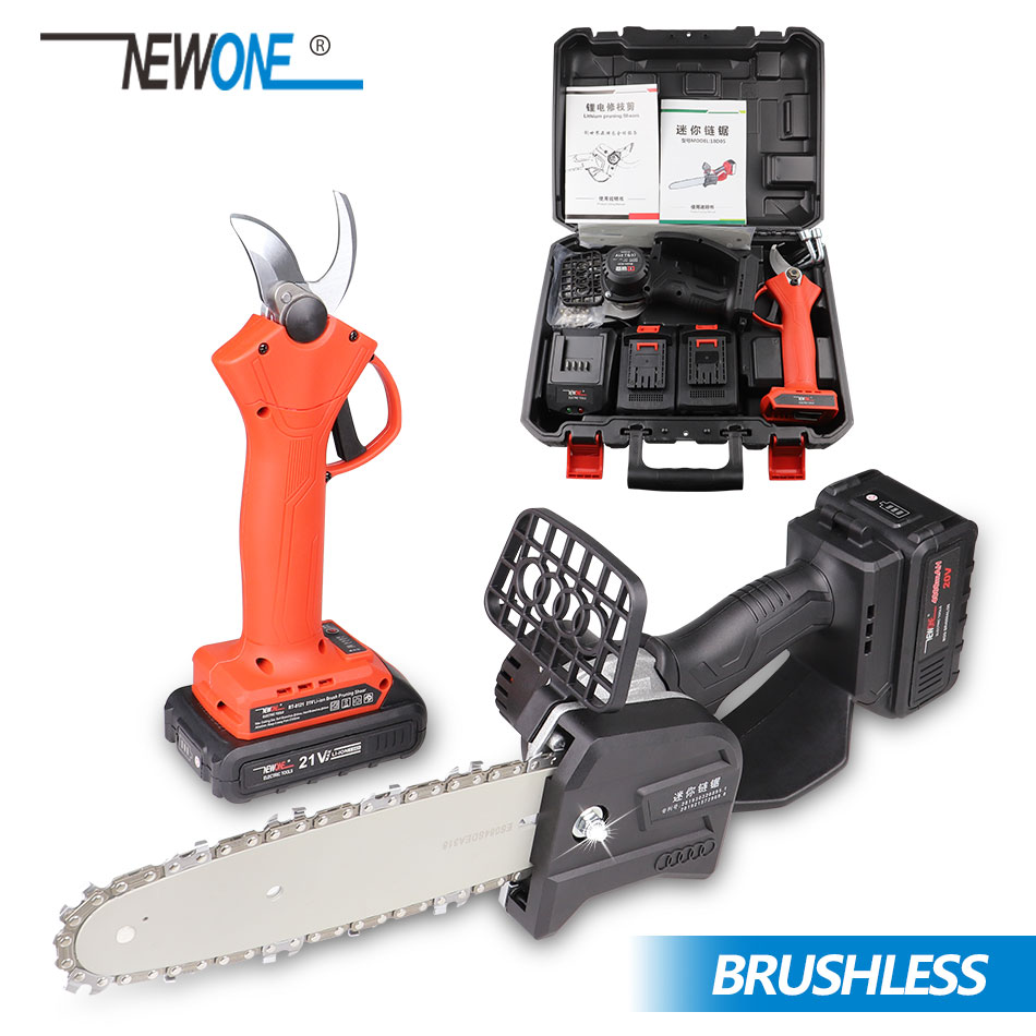 NEWONE 8-Inch 21V Cordless Chainsaw 2.0/4.0 AH Battery Sharing With Pruner Shear Brushless Motor Hassle Free Safety Chain Brake