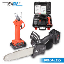 NEWONE 8-Inch 21V Cordless Chainsaw 2.0/4.0 AH Battery Sharing with Pruner Shear Brushless
