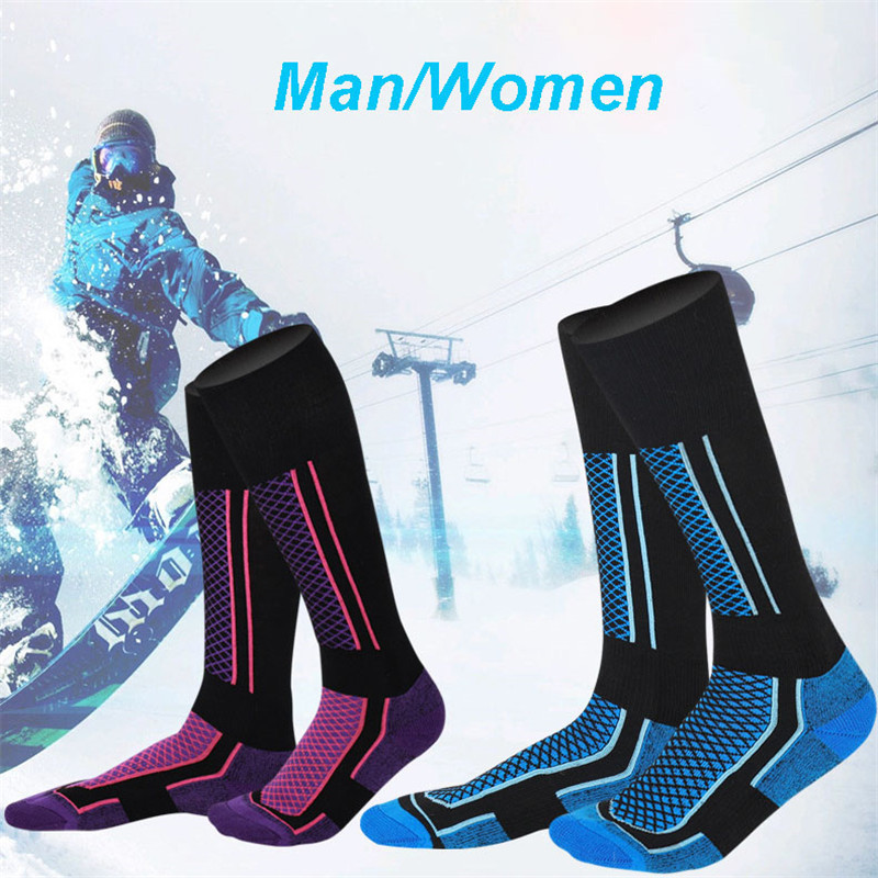 Unisex Sports Socks Winter Outdoor Running Ski Mountaineering Hiking Thick Warm Moisture High Tube Bottom Cotton Socks