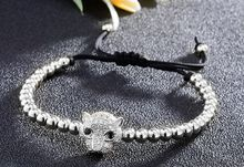 silver gold copper Gun black leopard micro pave cz zircon cubic zirconia Bracelet adjusted Macrame Charm Braided n4df Bangles(China)
