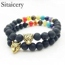 все цены на Sitaicery 7 Chakra Mens Bracelet Black Bracelet Healing Balance Beads Reiki Leopard Prayer Natural Stone Yoga Women's Bracelet