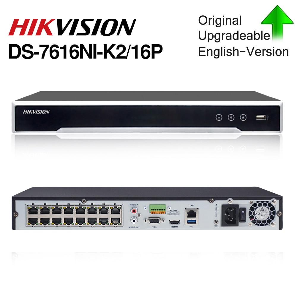 HIK POE NVR DS-7616NI-K2/16P 16CH H.265 12mp POE NVR для IP Камера Поддержка двухстороннее аудио HIK-CONNECT