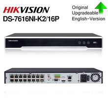 HIK POE NVR DS-7616NI-K2/16P 16CH H.265 12mp POE NVR for IP Camera Support Two way Audio HIK-CONNECT