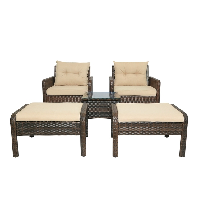 5-Piece PE Rattan Wicker Outdoor Patio Furniture Set With Glass Table 6
