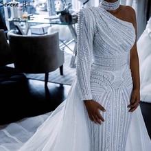 שלווה היל לבן גבוהה צווארון אחת כתף 2021 פניני תחרה מסיבת ללבוש יוקרה בת ים ערב רשמי שמלות לנשים LA70462