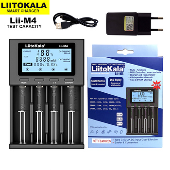 2021 NEW LiitoKala Lii-M4 18650 Charger LCD Display Universal Smart Charger Test capacity for 26650 18650 21700 AA AAA etc 4slot 1