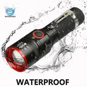Image 3 - 防水 5200LM usb充電式フラッシュライトXML T6 led懐中電灯ズーム可能な 3 モードトーチ 18650 usbケーブルキャンプz40