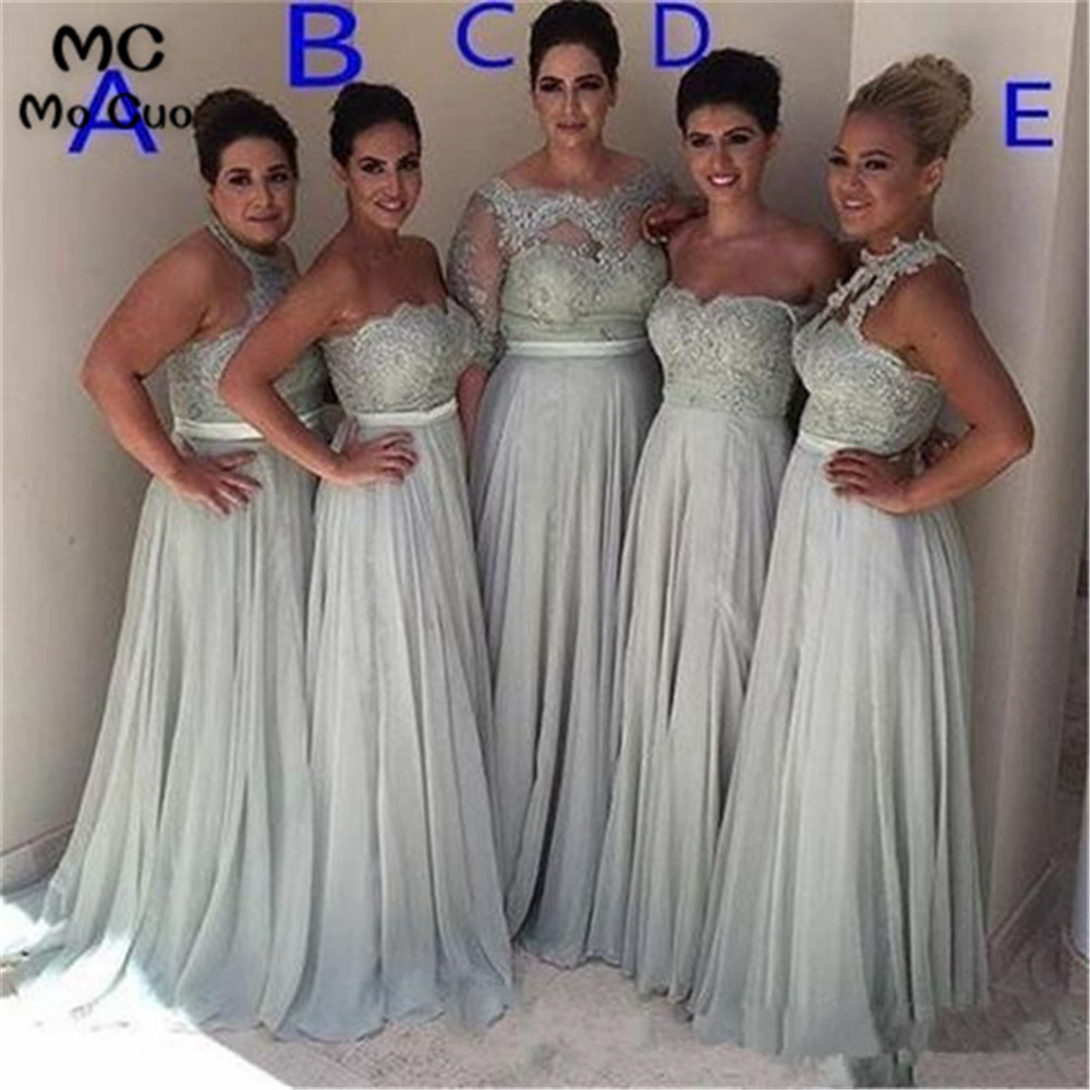 2019 Long Bridesmaid Dress Long Wedding Party Dress Appliques Pleat Chiffon Prom Bridesmaid Dresses For Women