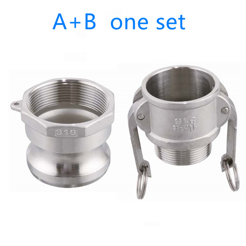 B+A One Set Of Camlock Fitting Adapter Homebrew 304 Stainless Steel Connector Quick Release Coupler 1/2