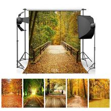 Autumn Forest Photography Backdrops Wooden Bridge Photo Background 3D Vinyl Cloth Computer Printed for Photo Studio Photo Shoot