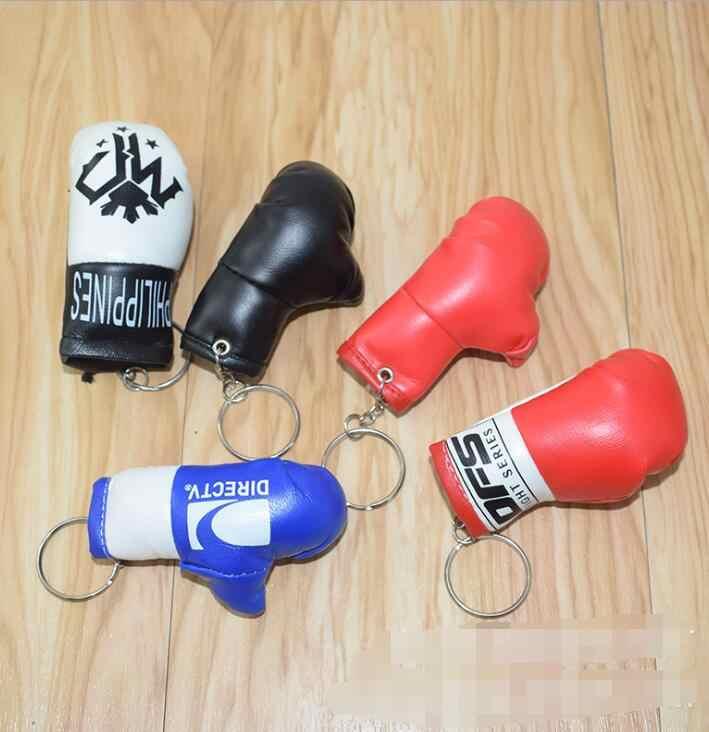 Simülasyon mini PVC deri boks eldivenleri anahtarlık anahtarlık çanta kolye süsleme araba anahtarlık moda erkekler ve kadınlar hediye