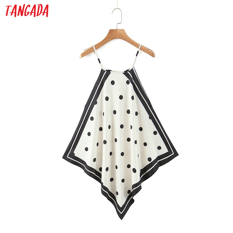 Tangada  Women Dots Print Halter Camis Top Sleeveless Backless Blouses Shirts Female Casual Solid Tops SL255