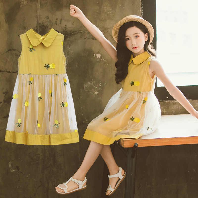 Милое пляжное платье для девочек-подростков 2019 г. Летняя одежда с фруктами платье для маленьких девочек vestidos нарядное и свадебное платье для девочек 10, 12, 8 лет