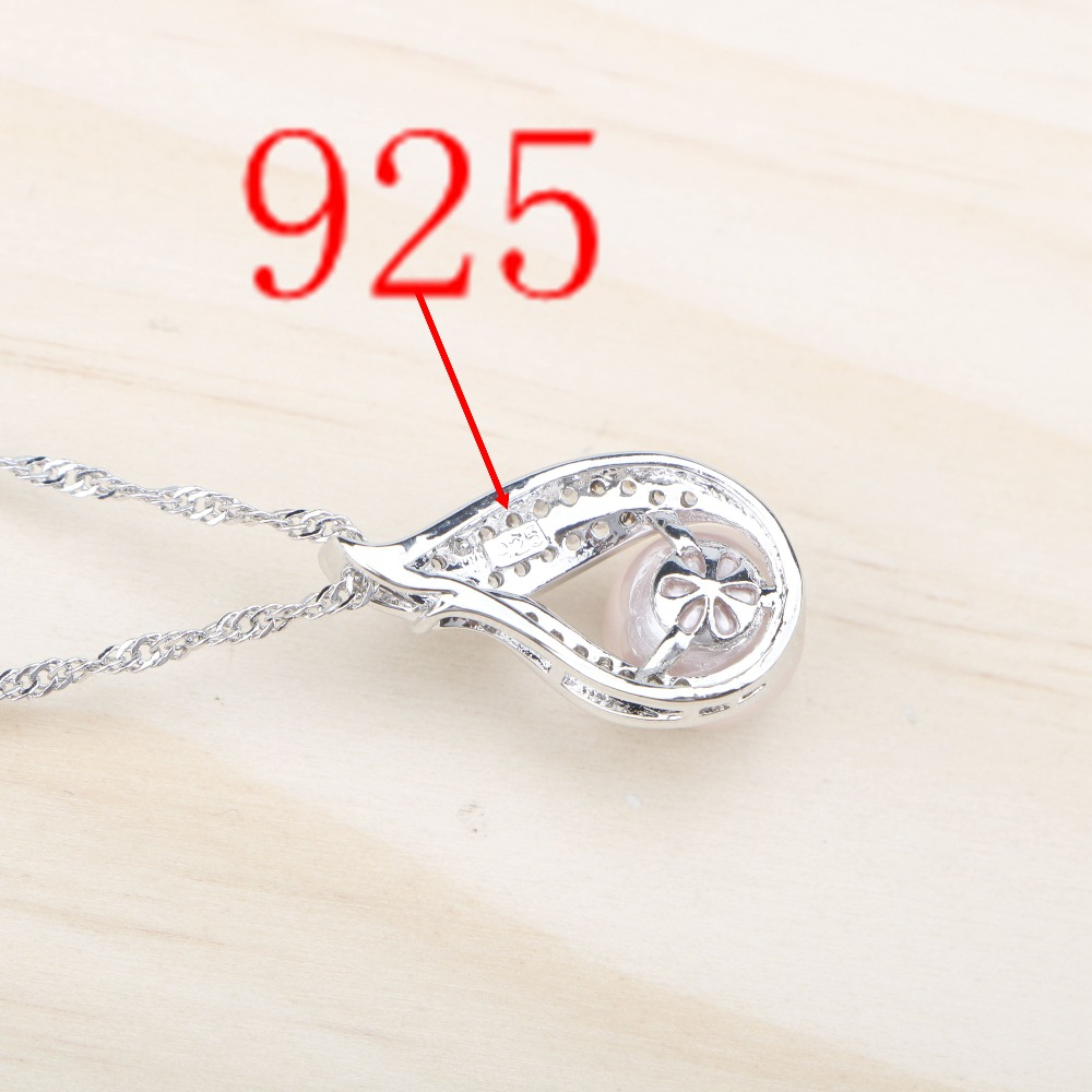 Women White Zircon Earrings With Stones Pendant&Necklace/Rings Set Free Gift Box