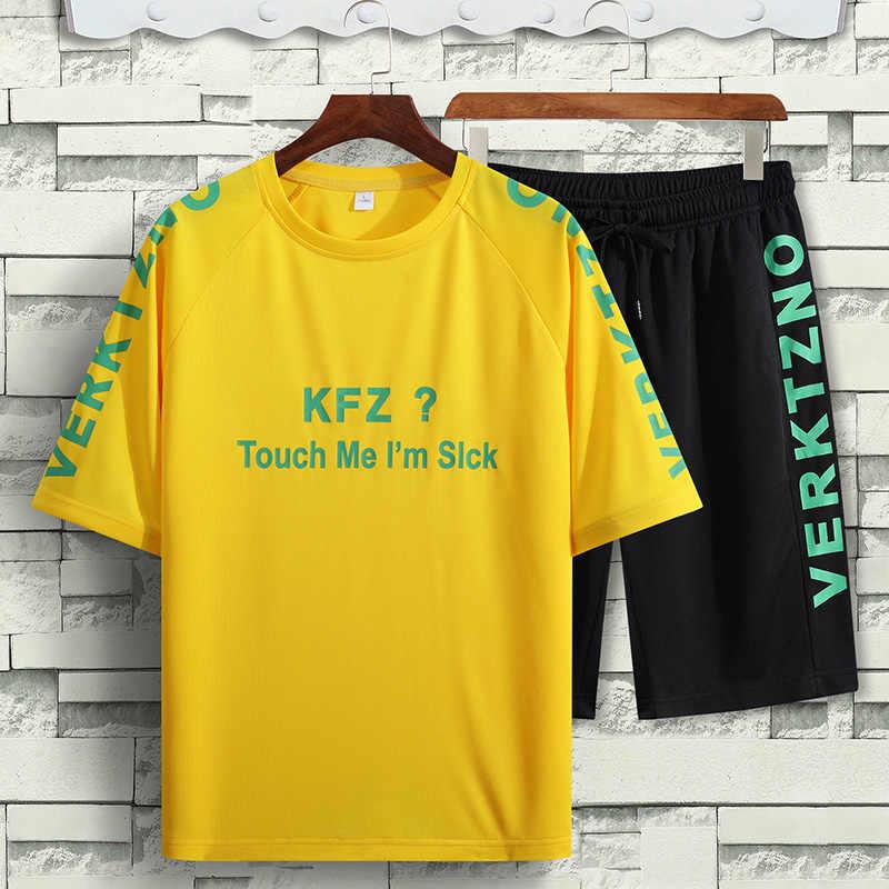 Erkekler T gömlek setleri 5XL 6XL 7XL 8XL şort yaz mavi hızlı kurutma seti koşu rahat 2020 T-Shirt gevşek plaj spor Dropshipping