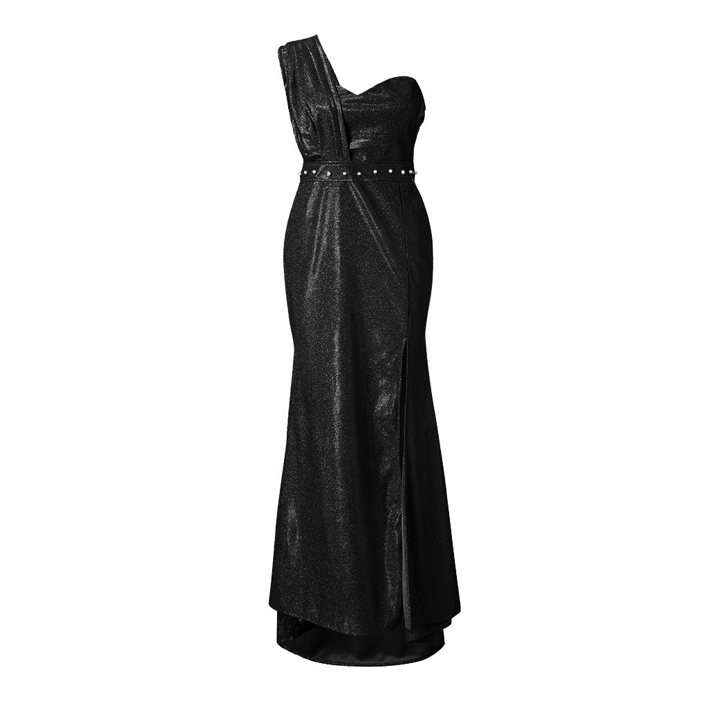 Sequin dress Women Sexy one shoulder Party dress Ladies Elegant robe Ball Gown