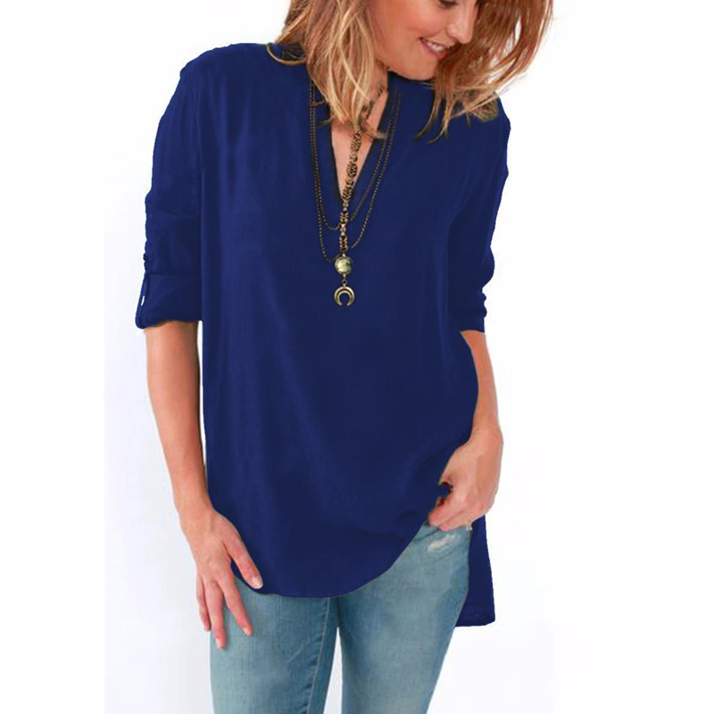 Women V-neck Long Sleeve Chiffon Blouse Casual Loose Tops Elegant Solid Shirts Plus Size
