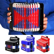 High quality 7-key 2 bass mini accordion educational instrument children rhythm band black / red / blue (optional)