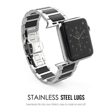 Lerxiuer Stainless Steel Strap For Apple watch band 42mm 38mm apple Series 3/2/1 Ceramic wrist band Link Bracelet belt watchband stainless steel watchband adapter for iwatch apple watch series 1 2 38mm 42mm wrist band link strap bracelet black gold silver